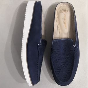 New! Suede Wide Slip On Loafers/Mocassins